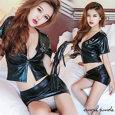 角色扮演 深V露胸火辣秘書二件式皮革迷你裙情趣套裝-天使波堤