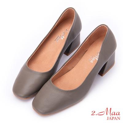 2.Maa (偏小)氣質UP柔軟牛皮方頭高跟鞋 - 灰色
