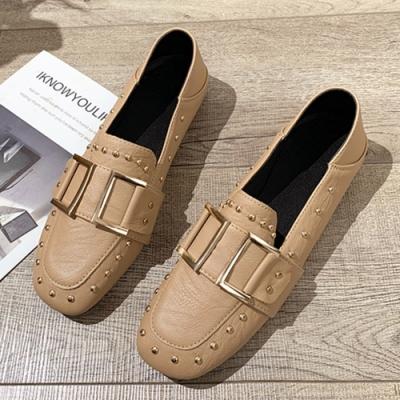 KEITH-WILL時尚鞋館 歐洲站鉚釘造型穆勒鞋-杏