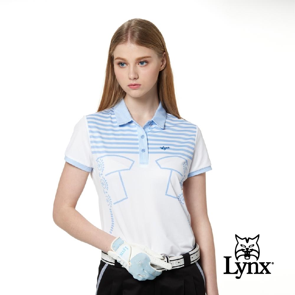 【Lynx Golf】女款吸汗速乾條紋配布公主線剪接短袖POLO衫-白色
