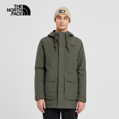The North Face北面男女款軍綠色防水透氣三合一外套|497S21L