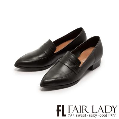 Fair Lady 學院風真皮樂福尖頭低跟鞋 黑