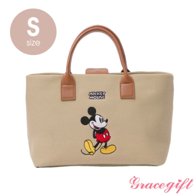 Disney collection by grace gift–唐葳設計迪士尼米奇2WAY帆布包S 奶茶色
