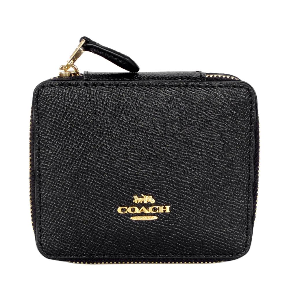 COACH黑色防刮全皮金字飾牌珠寶收納盒(小)COACH