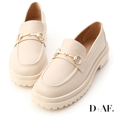 D+AF 復刻經典.鬆糕底馬銜釦樂福鞋*米白