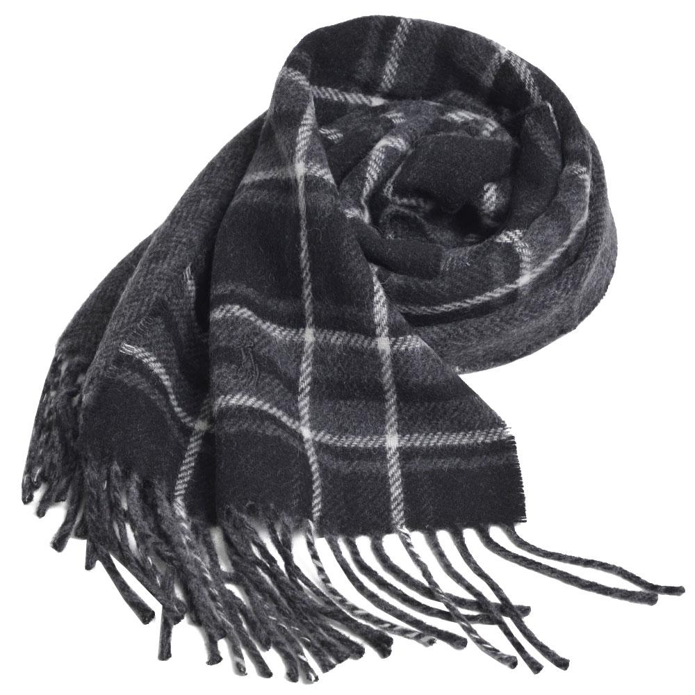 RALPH LAUREN POLO 義大利製小馬刺繡雙面配格紋羊毛圍巾(黑色系)GUCCI