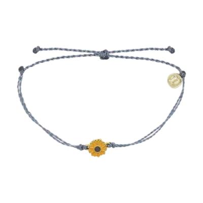 Pura Vida 美國手工 金色太陽花 灰藍蠟線可調式手鍊衝浪海灘防水手繩