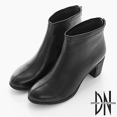 DN 女人魅力 質感牛皮平口線條跟靴-黑