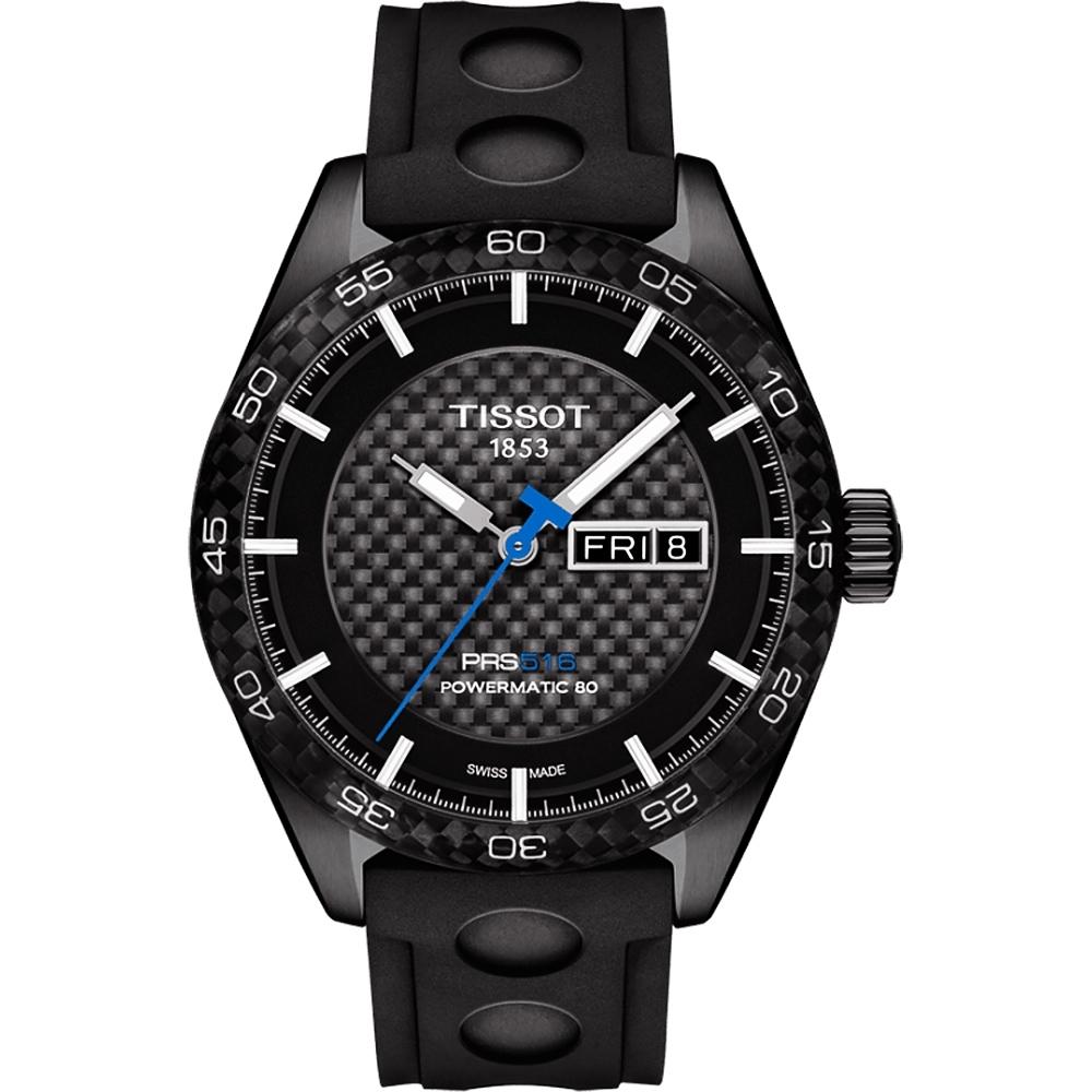 TISSOT PRS516 系列時尚機械腕錶-黑x橡膠錶帶/42mm