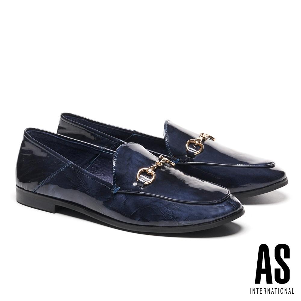 低跟鞋 AS 復刻經典時尚馬銜釦全真皮樂福低跟鞋-藍