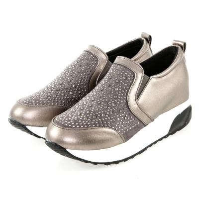 JMS-舒適點點晶鑽輕量厚底內增高休閒鞋-銀灰色