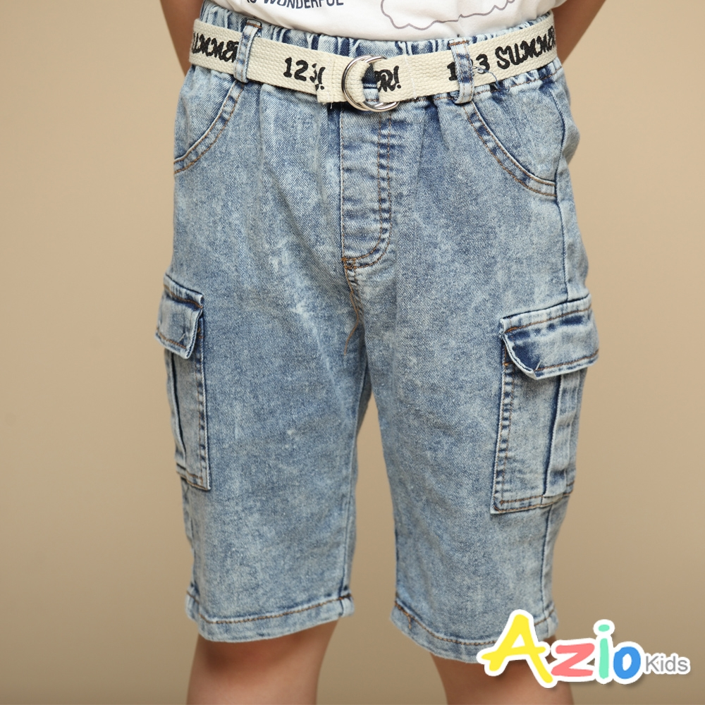 Azio Kids 男童 短褲 側雙口袋牛仔短褲附編織皮帶(藍)