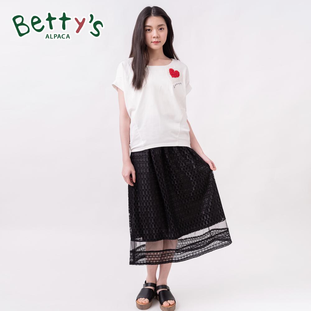betty's貝蒂思 彈性腰圍蕾絲縷空中長裙(黑色) @ Y!購物