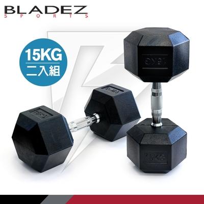 【BLADEZ】六角包膠啞鈴-15KG(二入組)