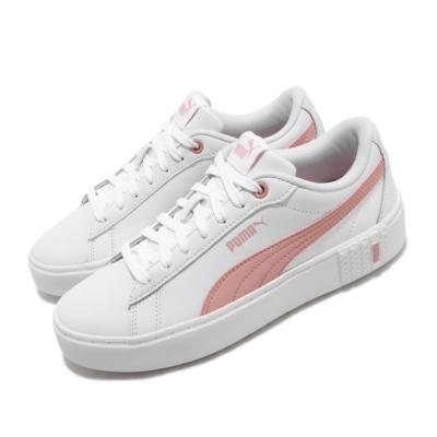 Puma 休閒鞋 Smash Platform 運動 女鞋 基本款 簡約 舒適 皮革 球鞋 穿搭 白 粉 37303505