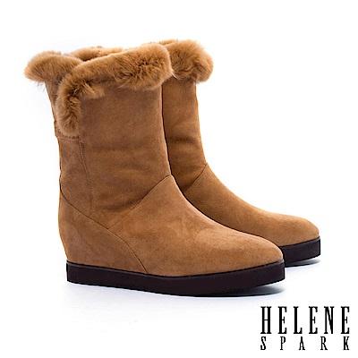 中筒靴 HELENE SPARK 反摺兔毛造型羊麂皮內增高中筒靴-咖
