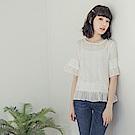純色高含棉蕾絲布拼接荷葉袖上衣-OB大尺碼