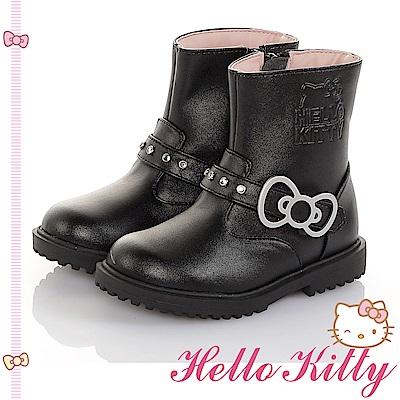 HelloKitty童鞋 傳統手工鞋氣質高級超纖皮革防滑靴-黑
