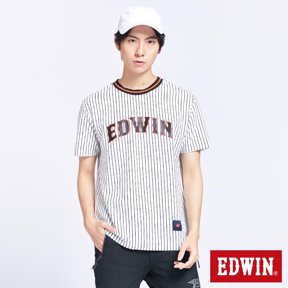 EDWIN 復古翻玩讀賣LOGO 短袖T恤-男-白色