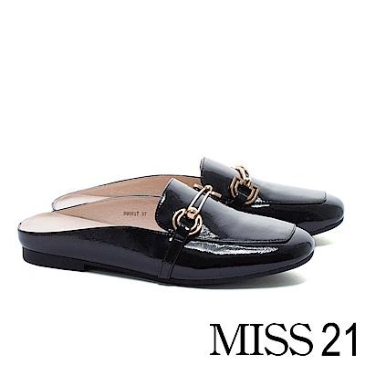 低跟鞋 MISS 21 經典俐落飾釦方頭樂福穆勒低跟鞋-黑