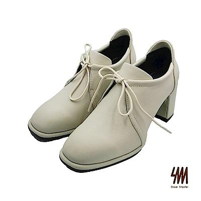 SM-時尚經典 方頭全真皮粗跟牛津鞋-白色 (兩色)