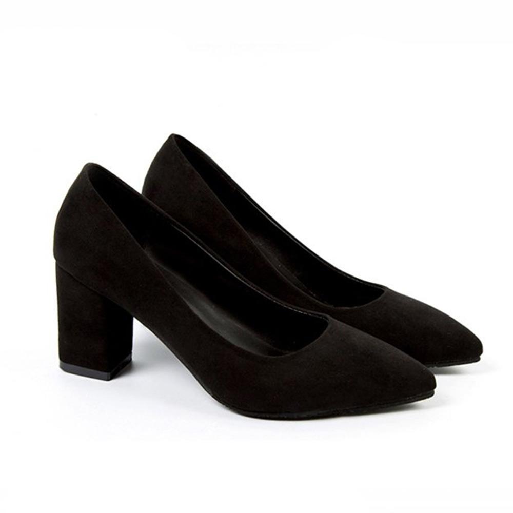 KEITH-WILL時尚鞋館 韓國設計獨具品味時尚粗跟鞋-黑色