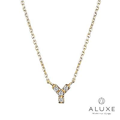 A-LUXE 亞立詩 Alphabet系列10K鑽石項鍊-Y