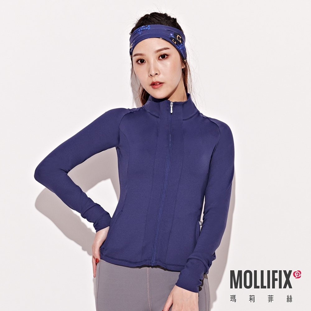 Mollifix 瑪莉菲絲 腰線拼接修身運動外套 (藏青)