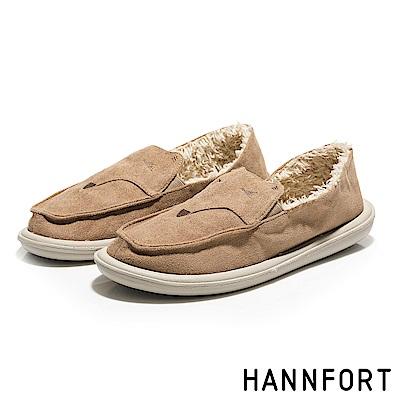 HANNFORT COZY微笑狐狸毛毛懶人鞋-女-拿鐵米