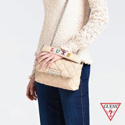 GUESS-女包-菱格紋金屬鍊條手提包-白