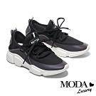 休閒鞋 MODA Luxury 經典百搭拼接綁帶厚底休閒鞋-黑