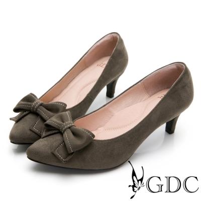 GDC-尖頭素色甜美蝴蝶結風格中跟鞋-綠色