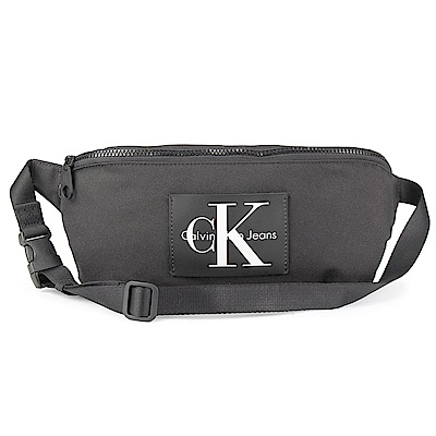 Calvin Klein 經典帆布LOGO斜背包-黑色