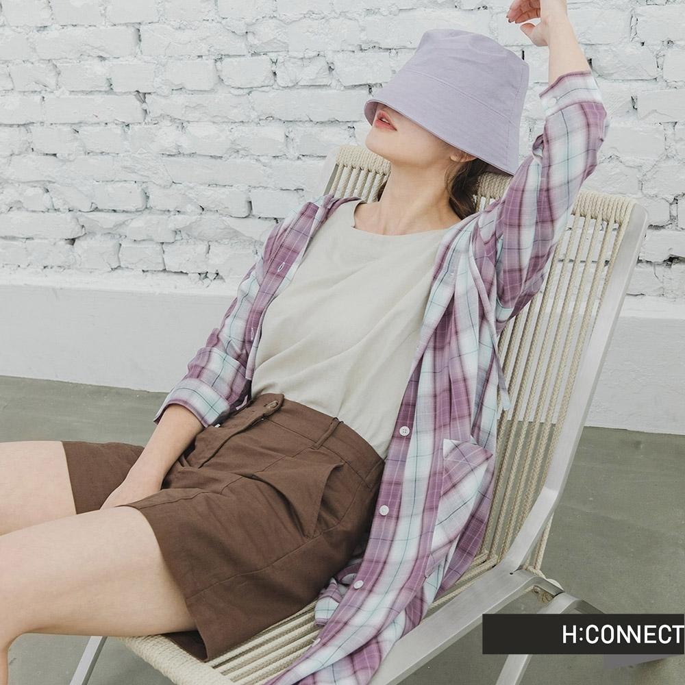 H:CONNECT 韓國品牌 女裝 -亮色系格紋長版連帽襯衫-紫