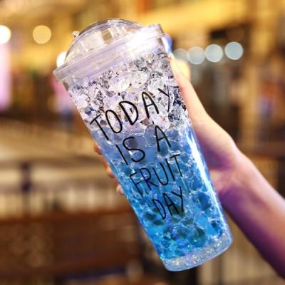 夏日杯子 碎冰杯款 帶吸管雙層大容量水瓶 運動隨身杯