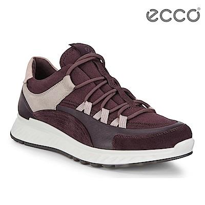 ECCO ST.1 W 舒適動能拼色戶外運動鞋 女-暗紅/裸粉/灰粉色