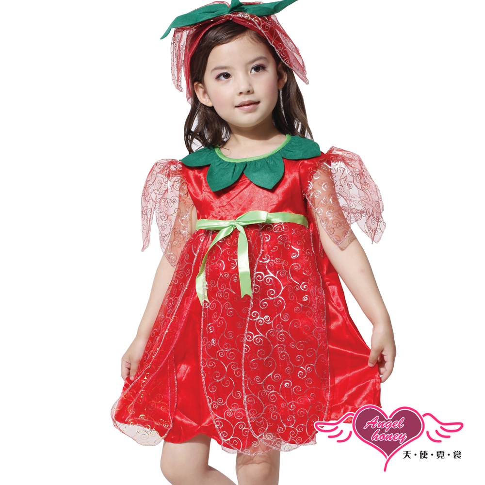 角色扮演 甜蜜玫瑰 仙子兒童萬聖節派對表演服(紅L) AngelHoney天使霓裳