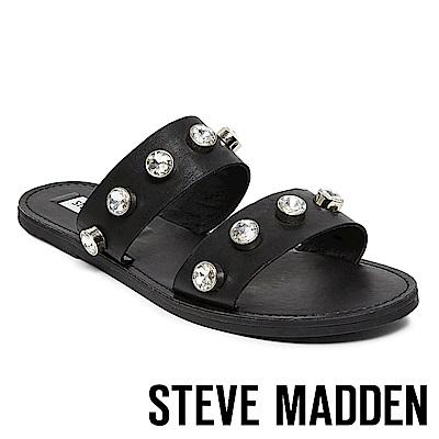 STEVE MADDEN-JESSY 水鑽鑲嵌二字帶平底拖-黑色