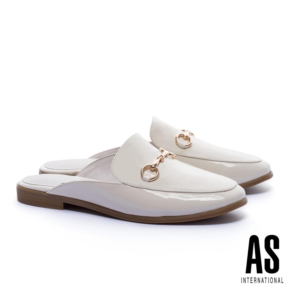 穆勒鞋 AS 復刻經典時尚馬銜釦全真皮低跟穆勒拖鞋-白