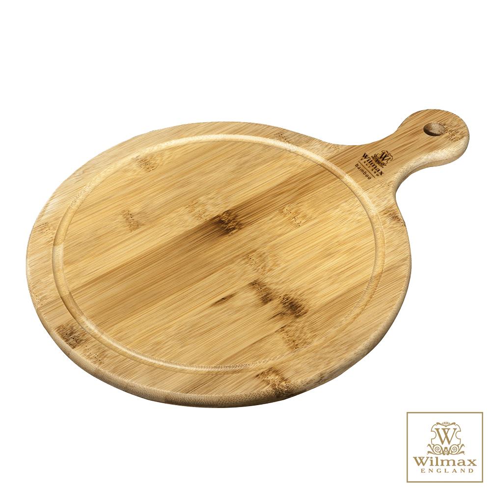 英國 WILMAX 圓形竹製附柄托盤/輕食盤(46x35.5CM)