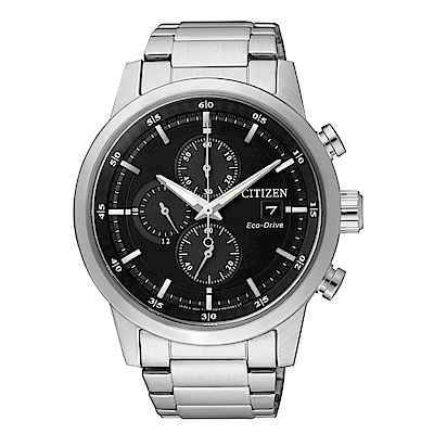CITIZEN 簡約質感光動能三眼計時錶-黑面/CA0610-52E