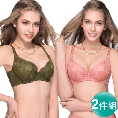 [時時樂限定]思薇爾 花慕系列B-E罩蕾絲包覆內衣2件組(粉+綠)