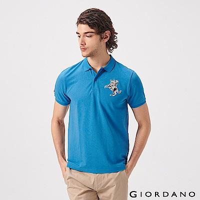 GIORDANO 男裝經典拿破崙撞色刺繡彈力萊卡POLO衫-43 雪花月亮藍