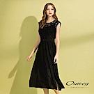 OUWEY歐薇 不規則雪紡拼接棉質長版洋裝(黑)
