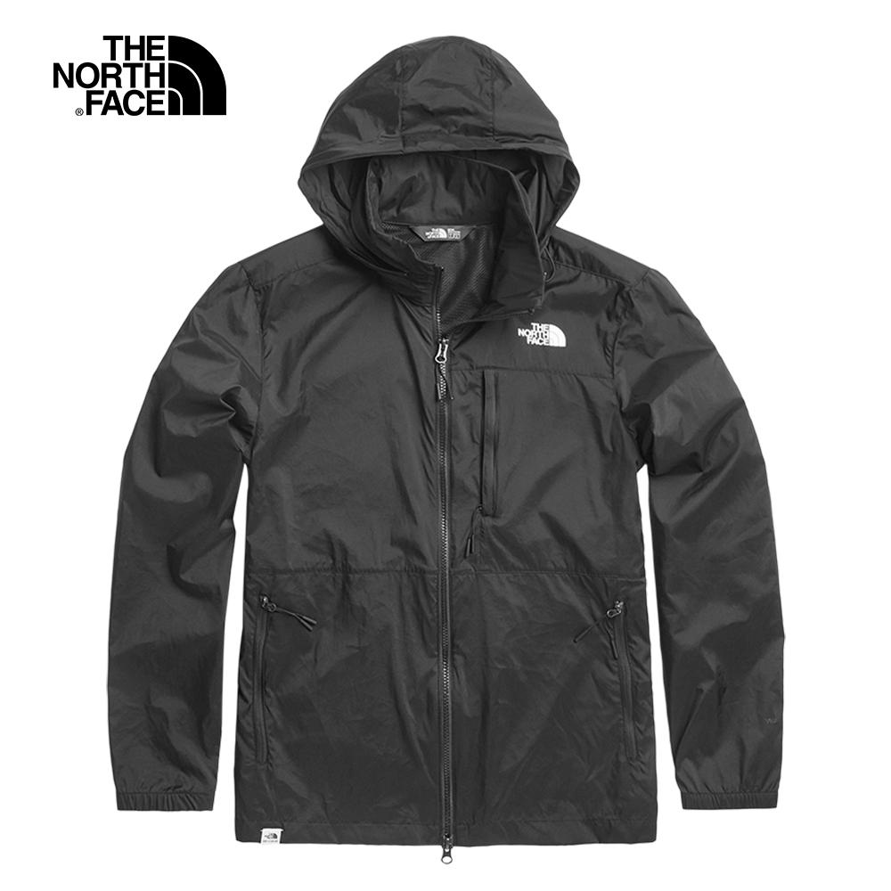 The North Face北面男款黑色可收納式風衣外套 3V4GJK3