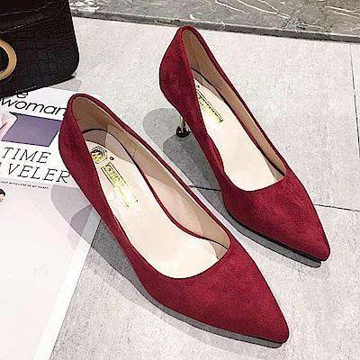 KEITH-WILL時尚鞋館 激推超細編織繽紛尖頭高跟鞋-紅色