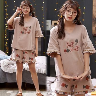 【韓國K.W.】(預購)英倫風復古森系印花套裝褲-1色