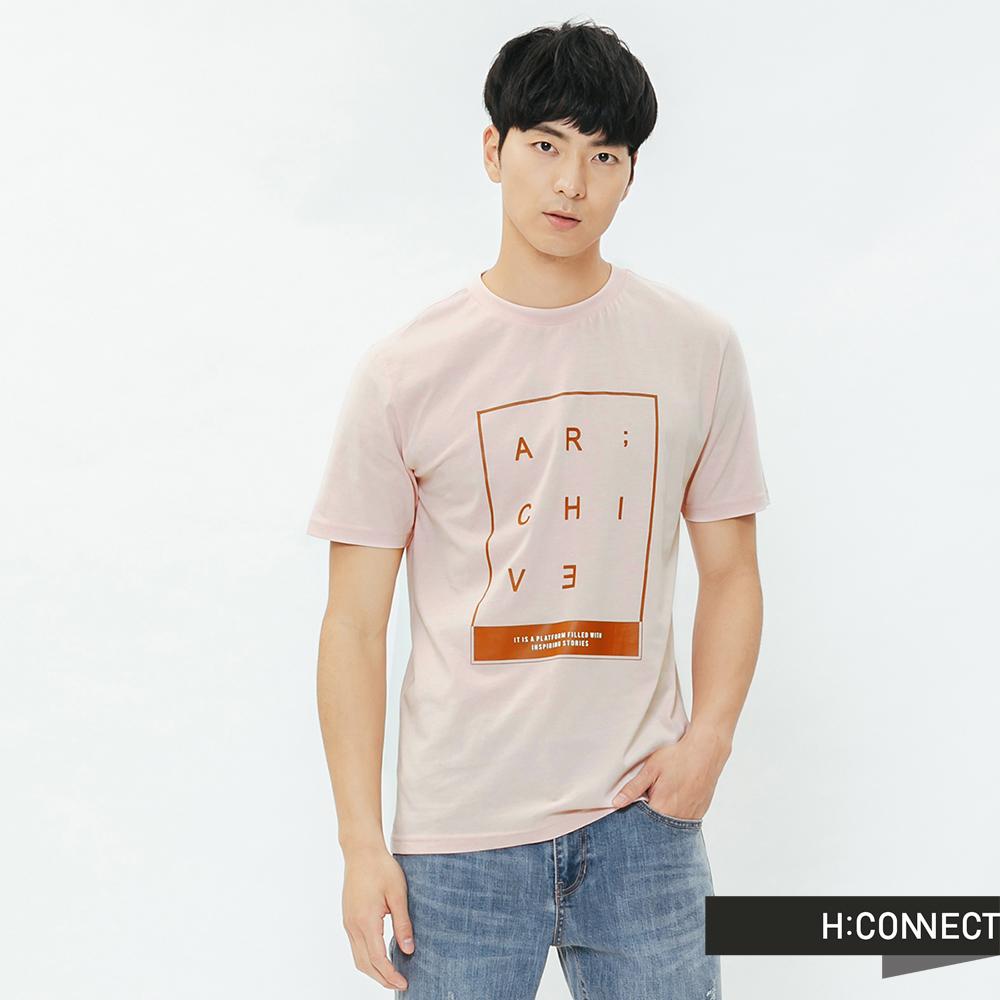 H:CONNECT 韓國品牌 男裝-活力字樣圓領T-shirt-粉 @ Y!購物
