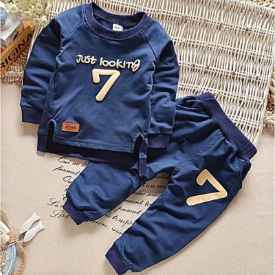 Baby童衣 兒童男女童數字7長袖套裝 男女童休閒運動套裝 圓領長袖套裝 88591