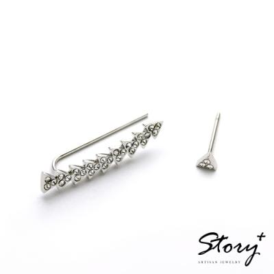 STORY故事銀飾-氣質時尚耳環-Arrow晶鋯耳環